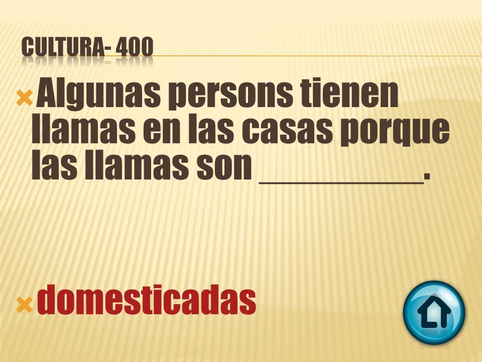 Algunas persons tienen llamas en las casas porque las llamas son ________. domesticadas