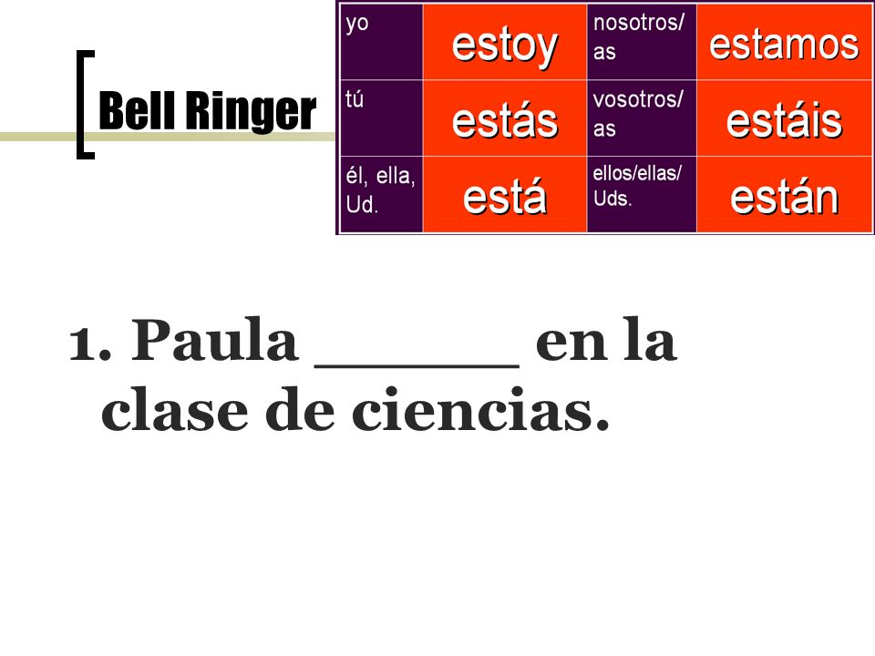 Bell Ringer el 7 de noviembre 4. Juan y Paula _____con David. están
