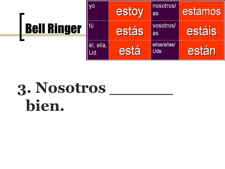 Bell Ringer el 7 de noviembre 3. Nosotros ______ bien.