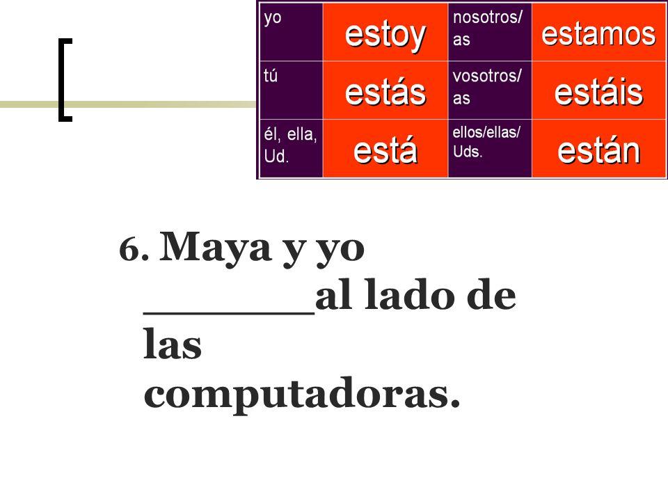 6. Maya y yo ______al lado de las computadoras.