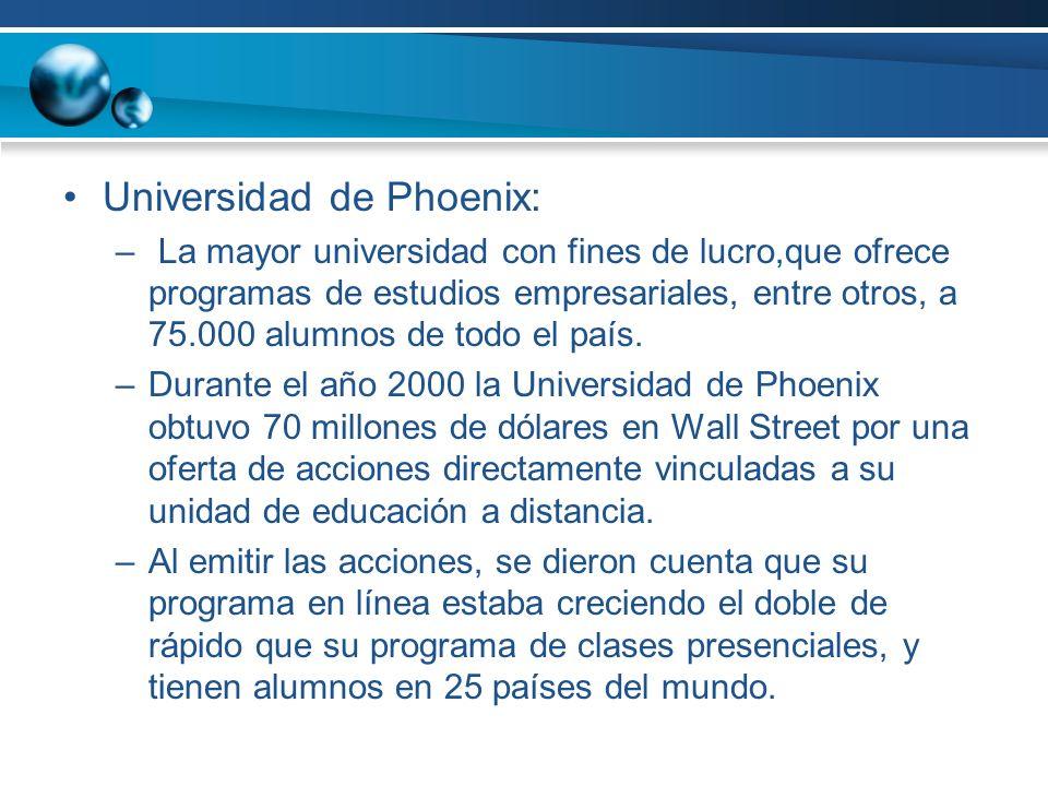 Universidad de Phoenix: – La mayor universidad con fines de lucro,que ofrece programas de estudios empresariales, entre otros, a 75.000 alumnos de todo el país.
