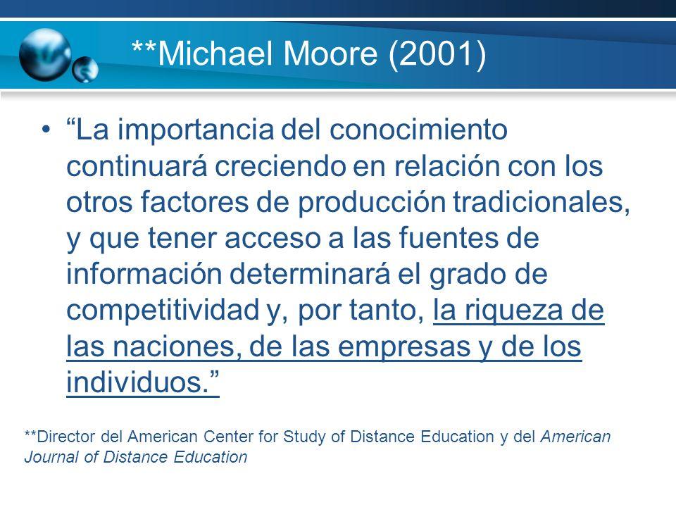 **Michael Moore (2001) La importancia del conocimiento continuará creciendo en relación con los otros factores de producción tradicionales, y que tener acceso a las fuentes de información determinará el grado de competitividad y, por tanto, la riqueza de las naciones, de las empresas y de los individuos.