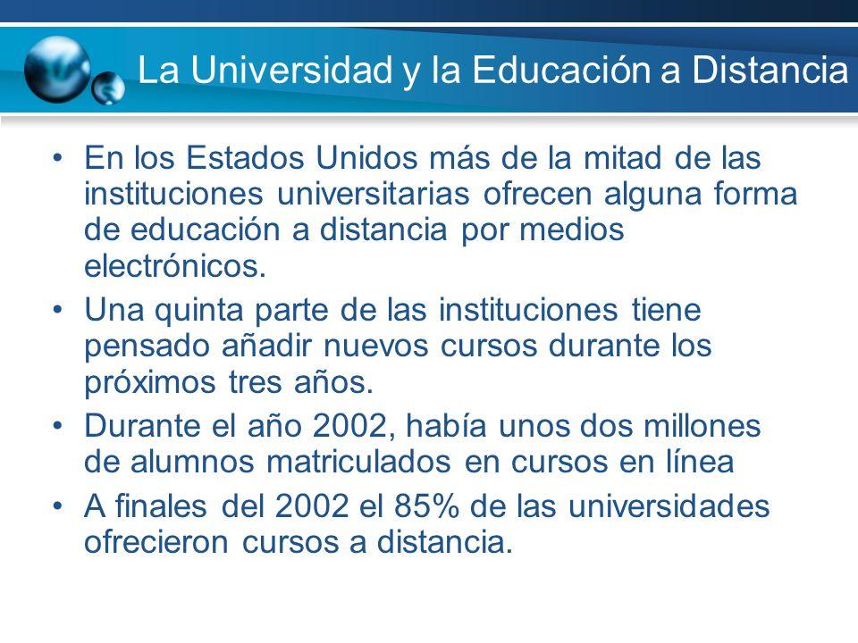 La Universidad y la Educación a Distancia En los Estados Unidos más de la mitad de las instituciones universitarias ofrecen alguna forma de educación a distancia por medios electrónicos.