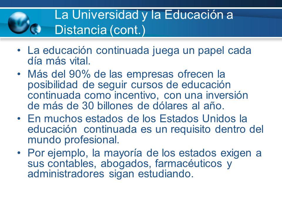 La Universidad y la Educación a Distancia (cont.) La educación continuada juega un papel cada día más vital.