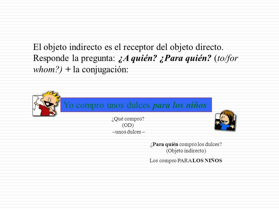 EL OBJETO (COMPLEMENTO) INDIRECTO (el receptor del objeto directo)