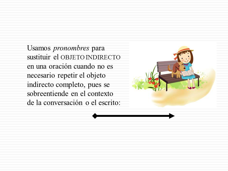El objeto indirecto es el receptor del objeto directo. Responde la pregunta: ¿A quién? ¿Para quién? (to/for whom?) + la conjugación: Yo compro unos du
