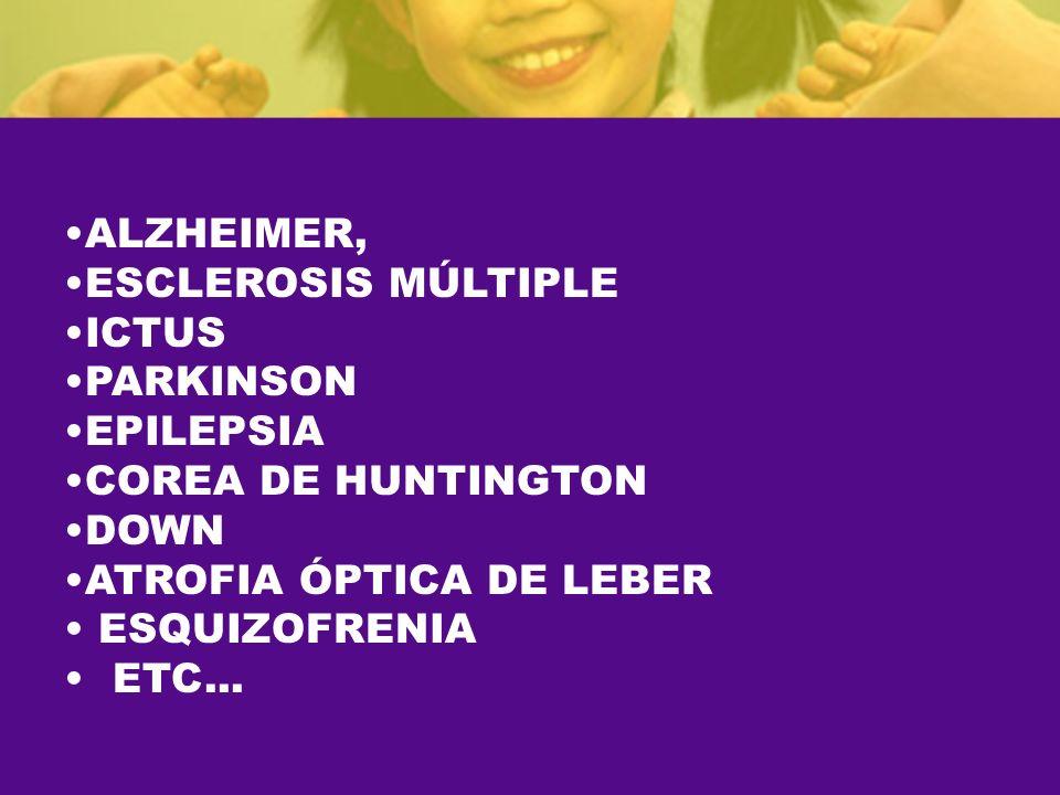 ALZHEIMER, ESCLEROSIS MÚLTIPLE ICTUS PARKINSON EPILEPSIA COREA DE HUNTINGTON DOWN ATROFIA ÓPTICA DE LEBER ESQUIZOFRENIA ETC...