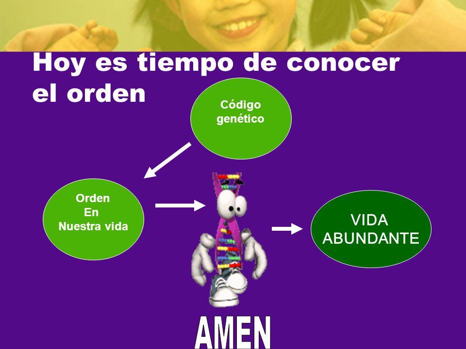 Hoy es tiempo de conocer el orden Orden En Nuestra vida Código genético VIDA ABUNDANTE