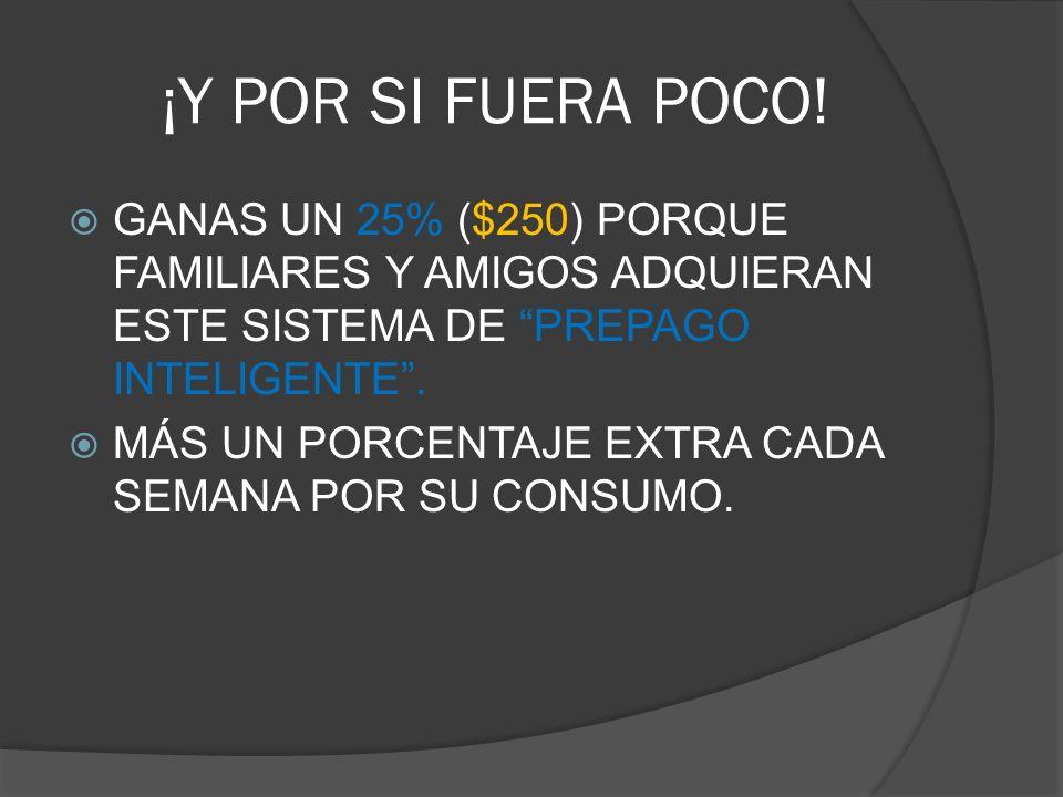 ¡Y POR SI FUERA POCO! GANAS UN 25% ($250) PORQUE FAMILIARES Y AMIGOS ADQUIERAN ESTE SISTEMA DE PREPAGO INTELIGENTE. MÁS UN PORCENTAJE EXTRA CADA SEMAN