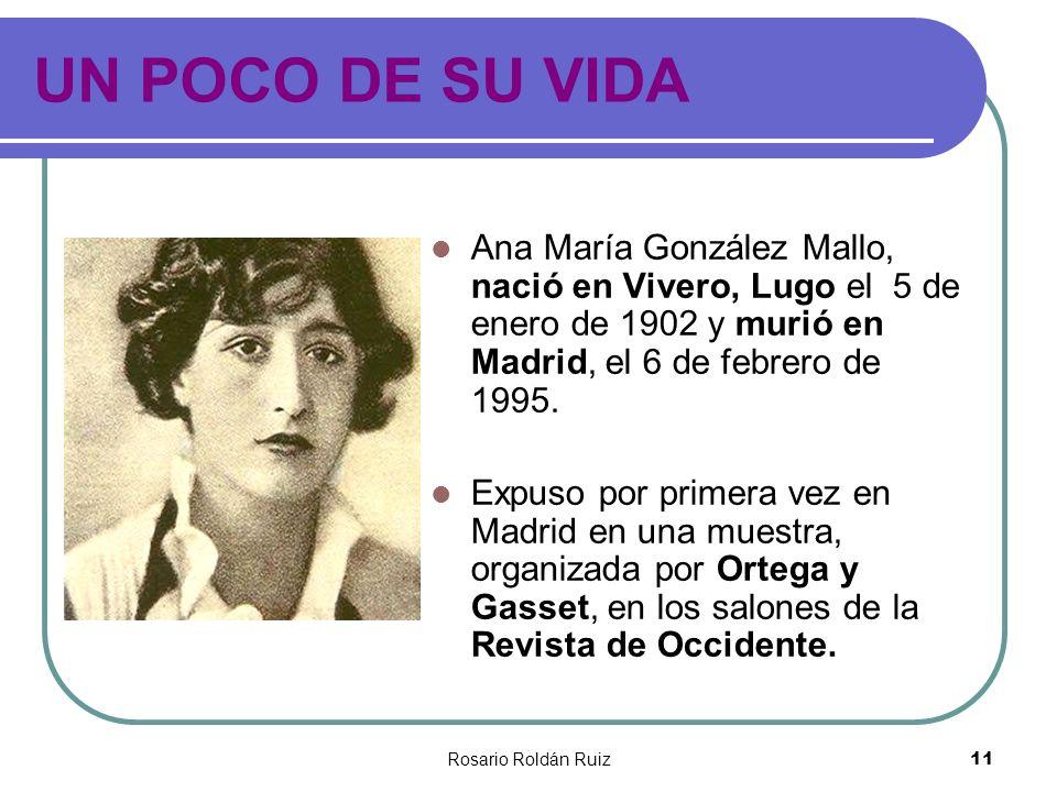 Rosario Roldán Ruiz11 UN POCO DE SU VIDA Ana María González Mallo, nació en Vivero, Lugo el 5 de enero de 1902 y murió en Madrid, el 6 de febrero de 1