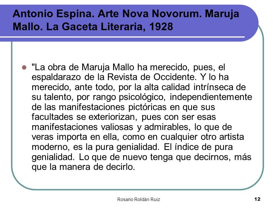 Rosario Roldán Ruiz12 Antonio Espina. Arte Nova Novorum. Maruja Mallo. La Gaceta Literaria, 1928