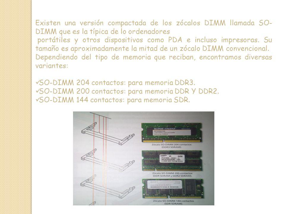 Existen una versión compactada de los zócalos DIMM llamada SO- DIMM que es la típica de lo ordenadores portátiles y otros dispositivos como PDA e incluso impresoras.