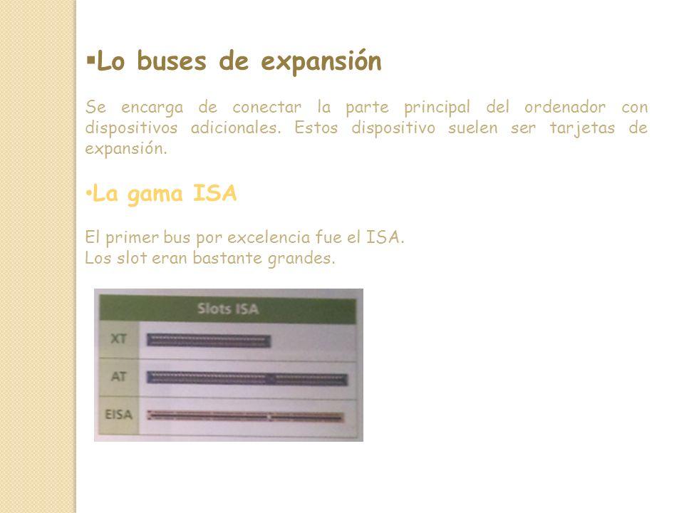 Lo buses de expansión Se encarga de conectar la parte principal del ordenador con dispositivos adicionales.