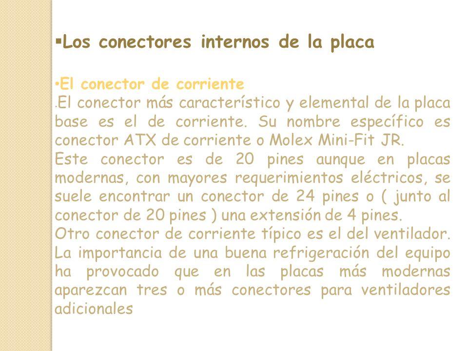 Los conectores internos de la placa El conector de corriente.