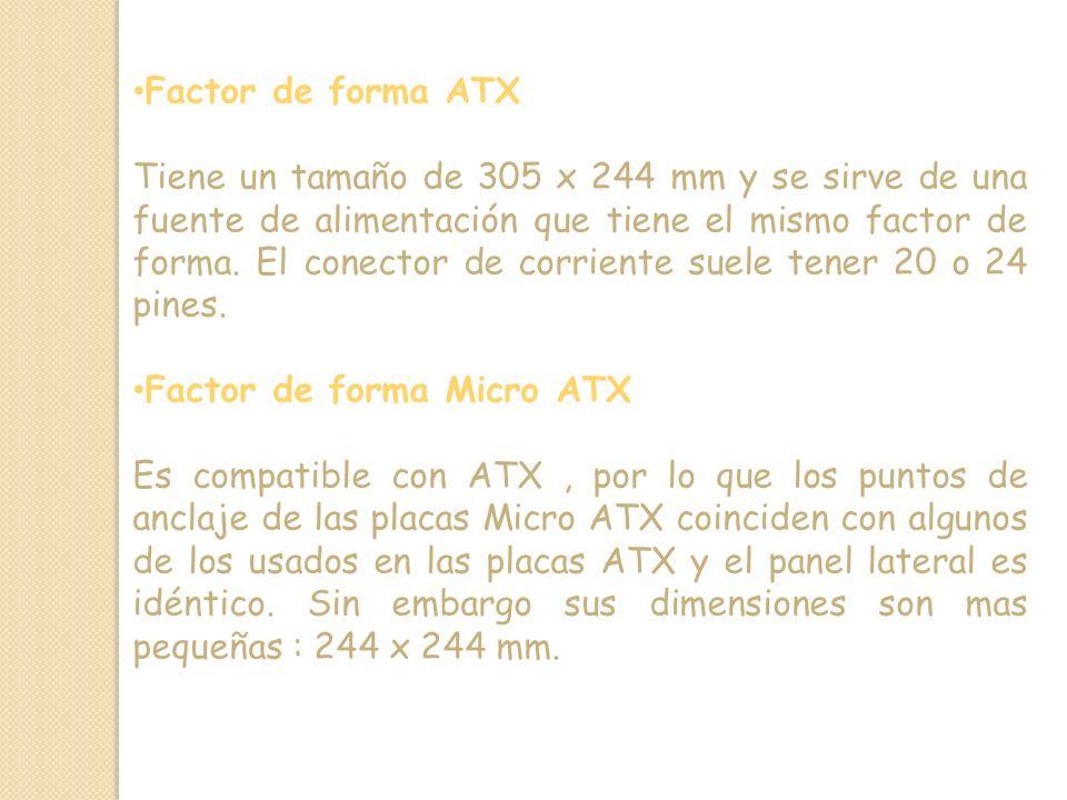Factor de forma ATX Tiene un tamaño de 305 x 244 mm y se sirve de una fuente de alimentación que tiene el mismo factor de forma.
