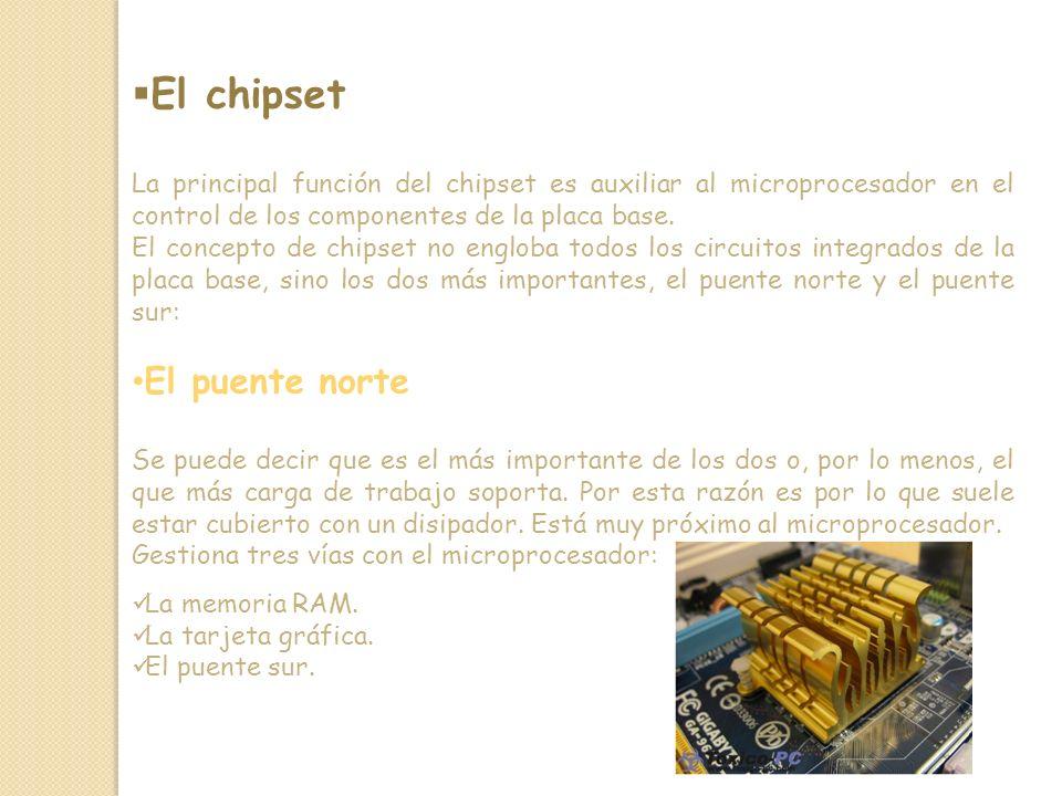 El chipset La principal función del chipset es auxiliar al microprocesador en el control de los componentes de la placa base.