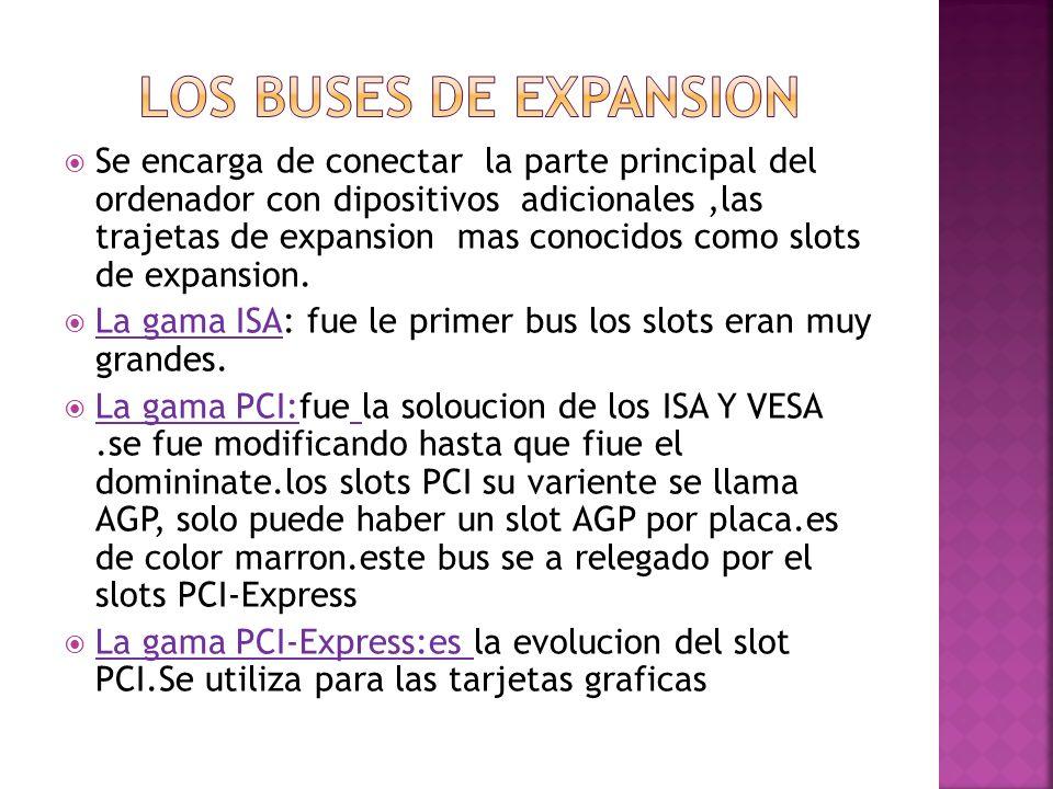 Se encarga de conectar la parte principal del ordenador con dipositivos adicionales,las trajetas de expansion mas conocidos como slots de expansion. L