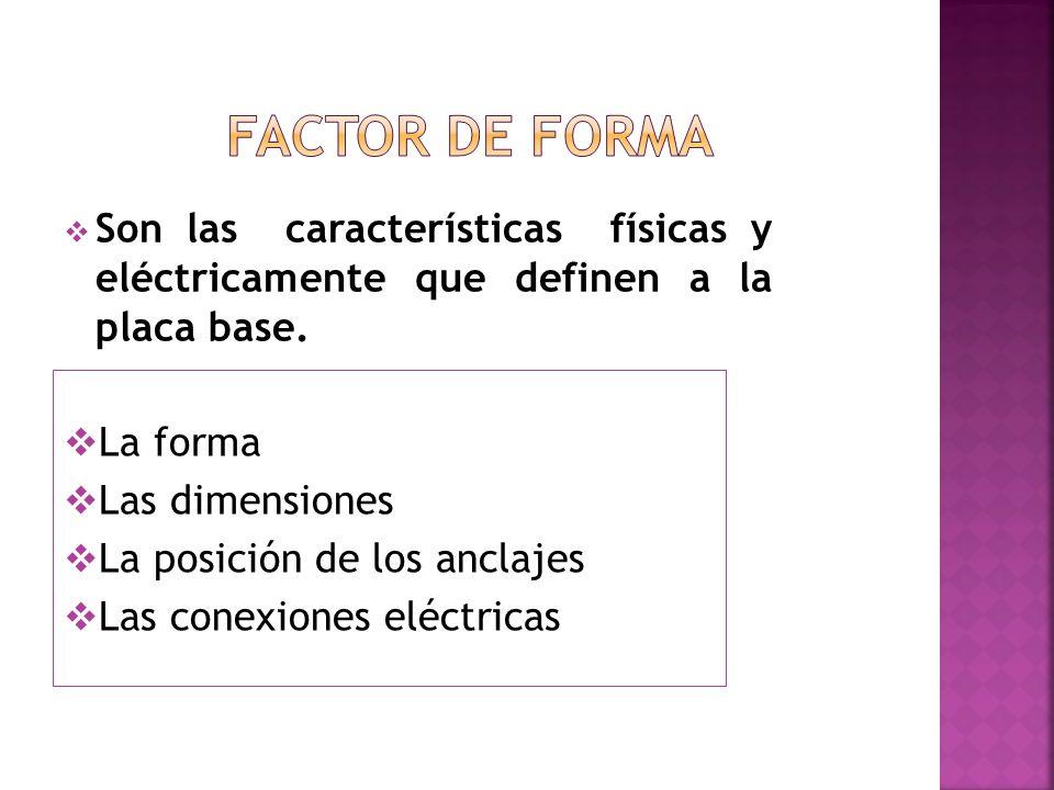 La forma Las dimensiones La posición de los anclajes Las conexiones eléctricas Son las características físicas y eléctricamente que definen a la placa