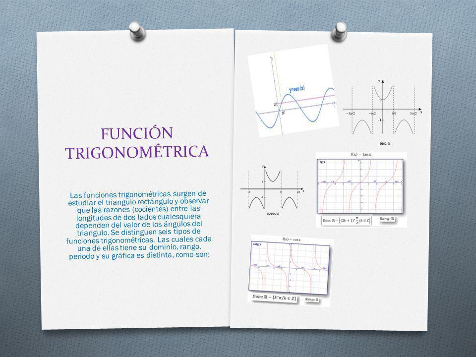 FUNCIÓN TRIGONOMÉTRICA Las funciones trigonométricas surgen de estudiar el triangulo rectángulo y observar que las razones (cocientes) entre las longi