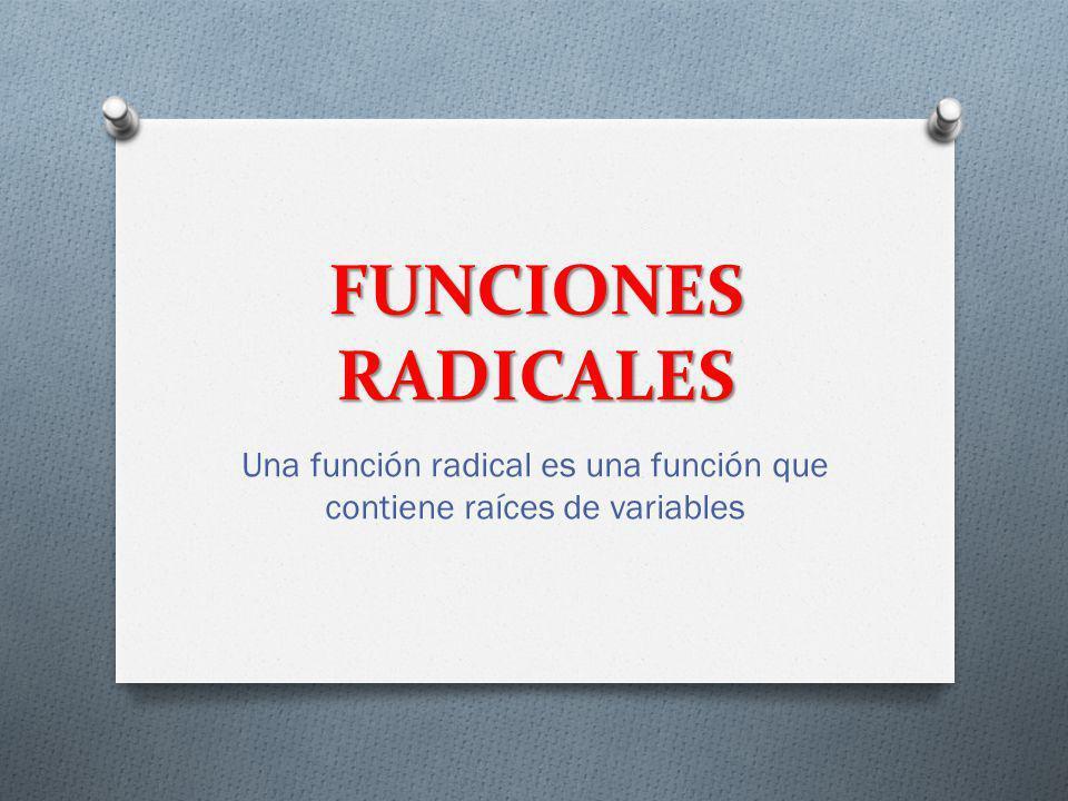 FUNCIONES RADICALES Una función radical es una función que contiene raíces de variables