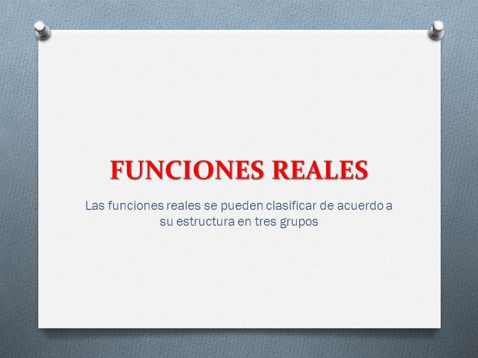 FUNCIONES REALES Las funciones reales se pueden clasificar de acuerdo a su estructura en tres grupos