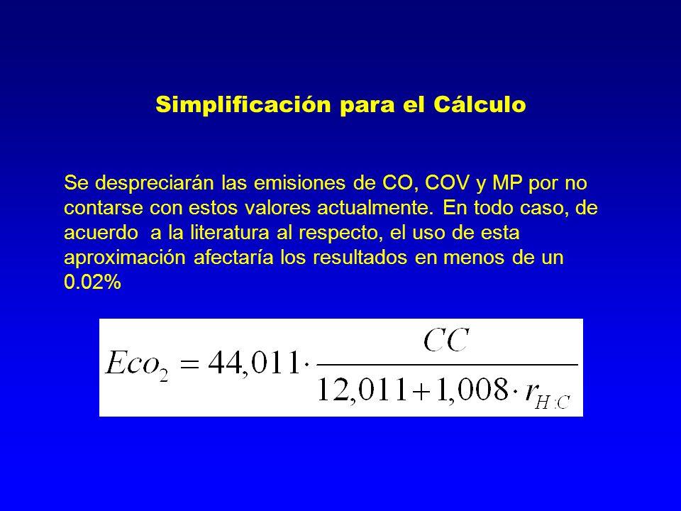 Simplificación para el Cálculo Se despreciarán las emisiones de CO, COV y MP por no contarse con estos valores actualmente. En todo caso, de acuerdo a