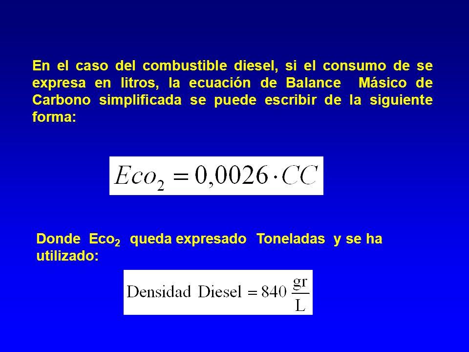 En el caso del combustible diesel, si el consumo de se expresa en litros, la ecuación de Balance Másico de Carbono simplificada se puede escribir de l