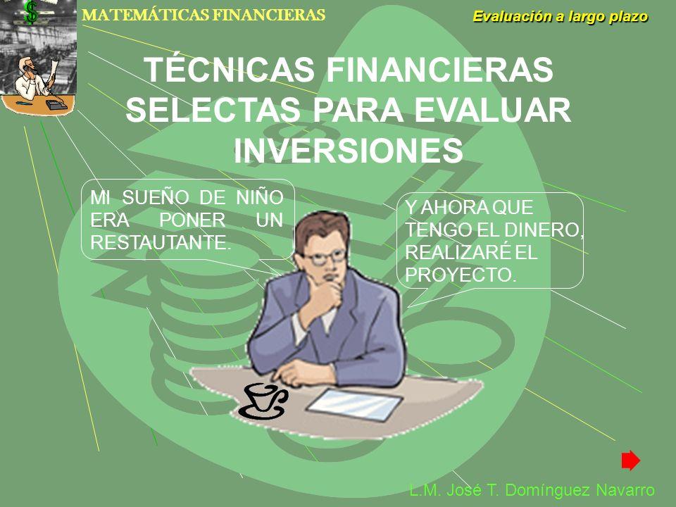 MATEMÁTICAS FINANCIERAS Evaluación a largo plazo L.M. José T. Domínguez Navarro MI SUEÑO DE NIÑO ERA PONER UN RESTAUTANTE. Y AHORA QUE TENGO EL DINERO