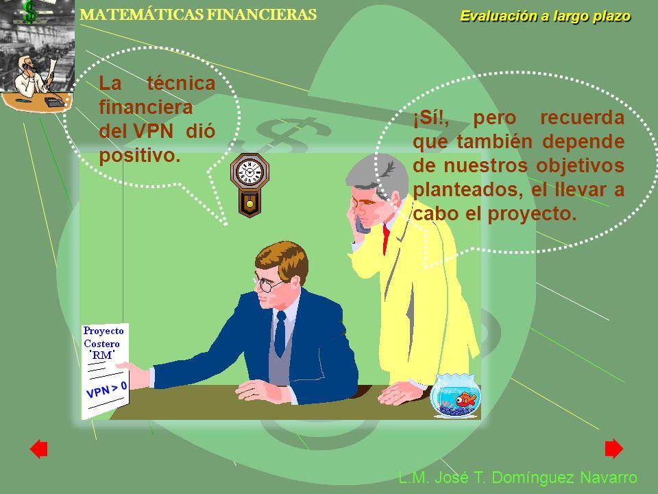 MATEMÁTICAS FINANCIERAS Evaluación a largo plazo L.M. José T. Domínguez Navarro V P N > 0 La técnica financiera del VPN dió positivo. ¡Sí!, pero recue