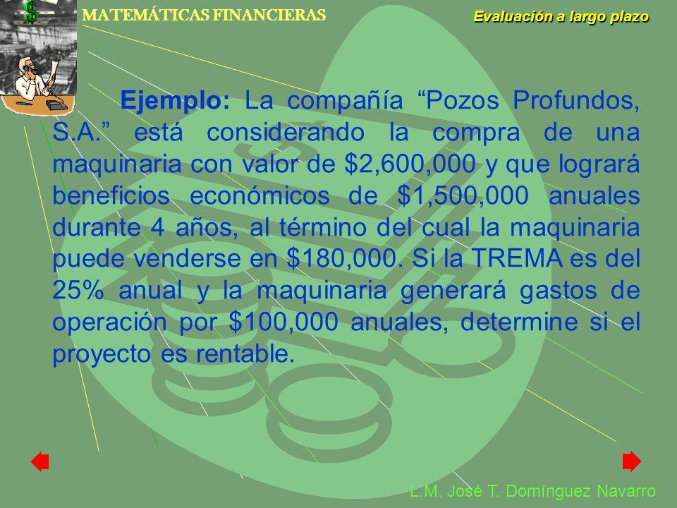 MATEMÁTICAS FINANCIERAS Evaluación a largo plazo L.M. José T. Domínguez Navarro Ejemplo: La compañía Pozos Profundos, S.A. está considerando la compra