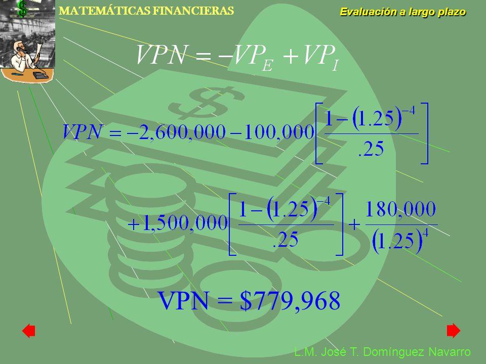 MATEMÁTICAS FINANCIERAS Evaluación a largo plazo L.M. José T. Domínguez Navarro VPN = $779,968