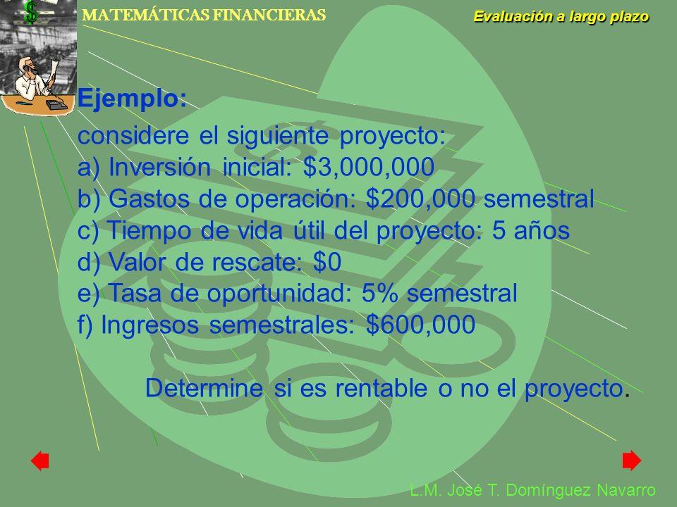 MATEMÁTICAS FINANCIERAS Evaluación a largo plazo L.M. José T. Domínguez Navarro considere el siguiente proyecto: a) Inversión inicial: $3,000,000 b) G