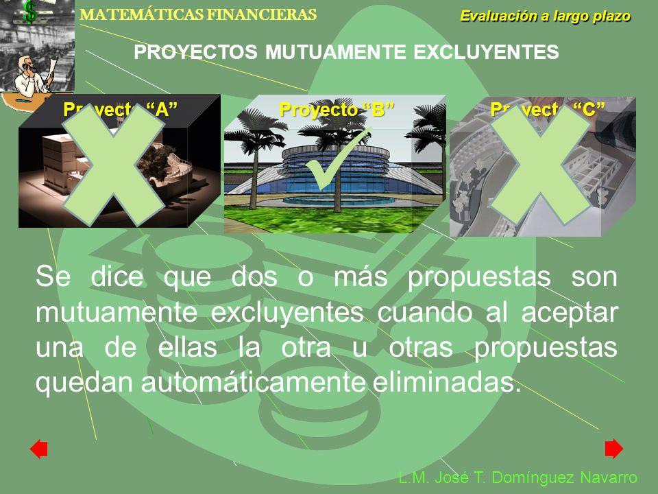 MATEMÁTICAS FINANCIERAS Evaluación a largo plazo L.M. José T. Domínguez Navarro Se dice que dos o más propuestas son mutuamente excluyentes cuando al