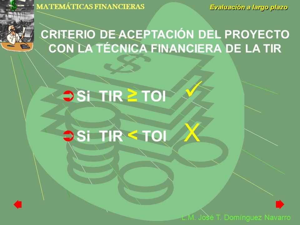 MATEMÁTICAS FINANCIERAS Evaluación a largo plazo L.M. José T. Domínguez Navarro CRITERIO DE ACEPTACIÓN DEL PROYECTO CON LA TÉCNICA FINANCIERA DE LA TI