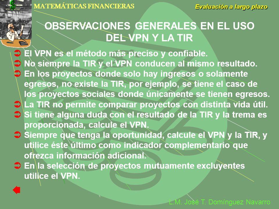 MATEMÁTICAS FINANCIERAS Evaluación a largo plazo L.M. José T. Domínguez Navarro El VPN es el método más preciso y confiable. No siempre la TIR y el VP