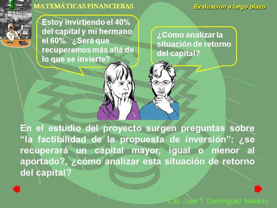 MATEMÁTICAS FINANCIERAS Evaluación a largo plazo L.M. José T. Domínguez Navarro Estoy invirtiendo el 40% del capital y mi hermano el 60%. ¿Será que re