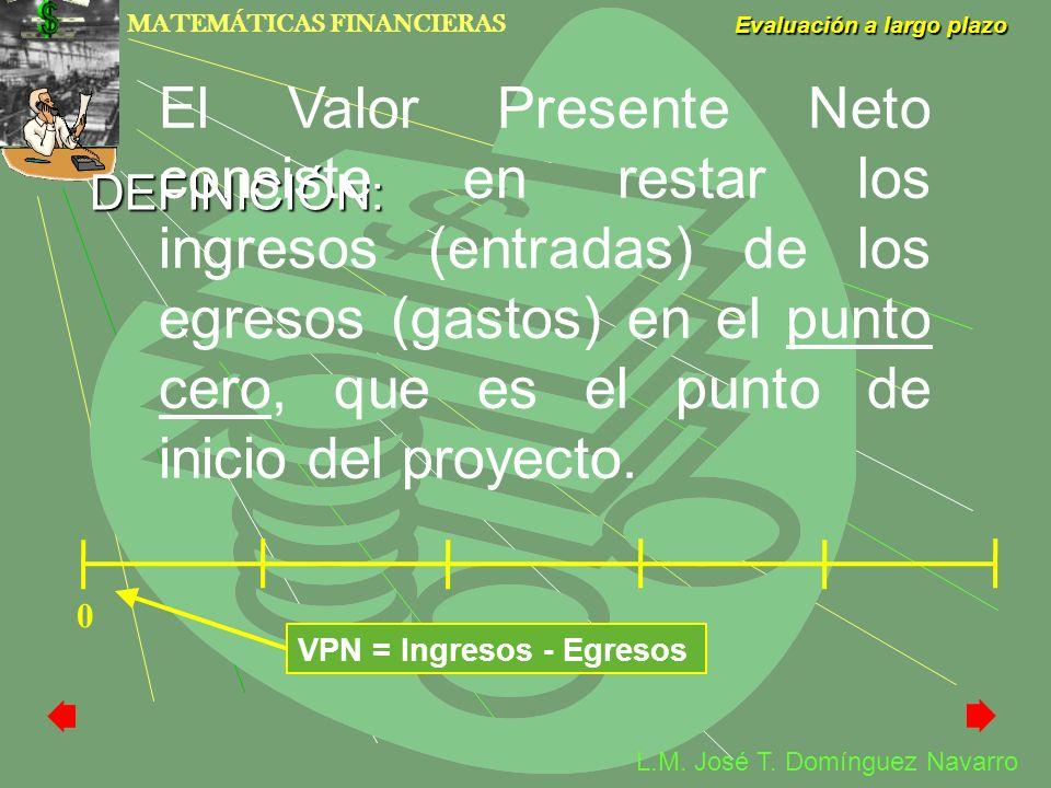 MATEMÁTICAS FINANCIERAS Evaluación a largo plazo L.M. José T. Domínguez Navarro DEFINICIÓN: El Valor Presente Neto consiste en restar los ingresos (en