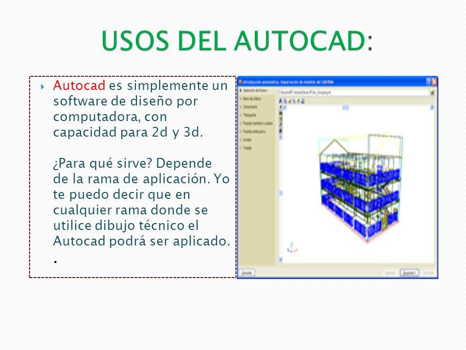 Autocad es simplemente un software de diseño por computadora, con capacidad para 2d y 3d.