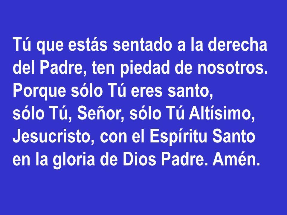 Señor, Hijo único, Jesucristo. Señor Dios, Cordero de Dios, Hijo del Padre. Tú que quitas el pecado del mundo, ten piedad de nosotros. Tú que quitas e