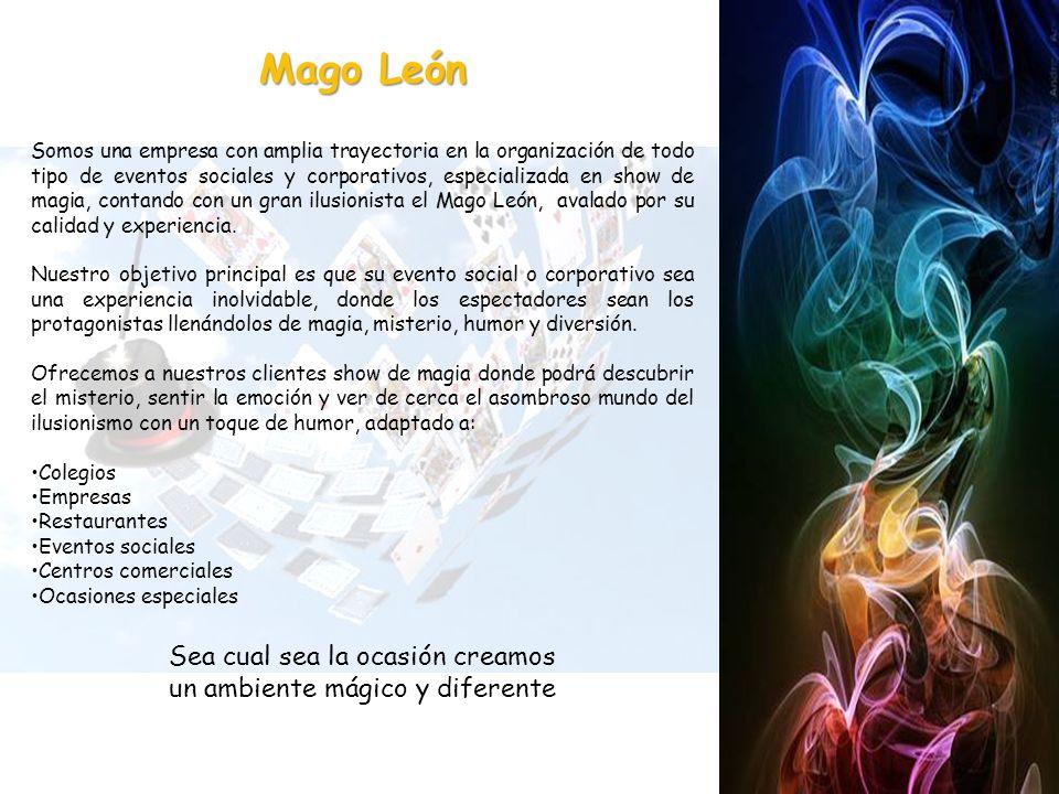 Somos una empresa con amplia trayectoria en la organización de todo tipo de eventos sociales y corporativos, especializada en show de magia, contando