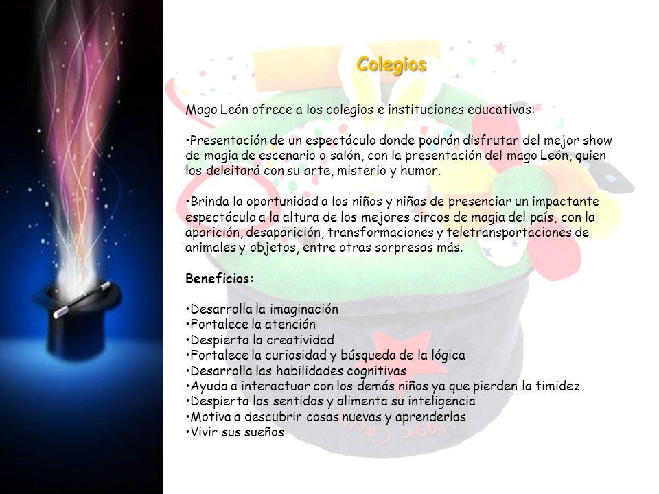 Mago León ofrece a los colegios e instituciones educativas: Presentación de un espectáculo donde podrán disfrutar del mejor show de magia de escenario