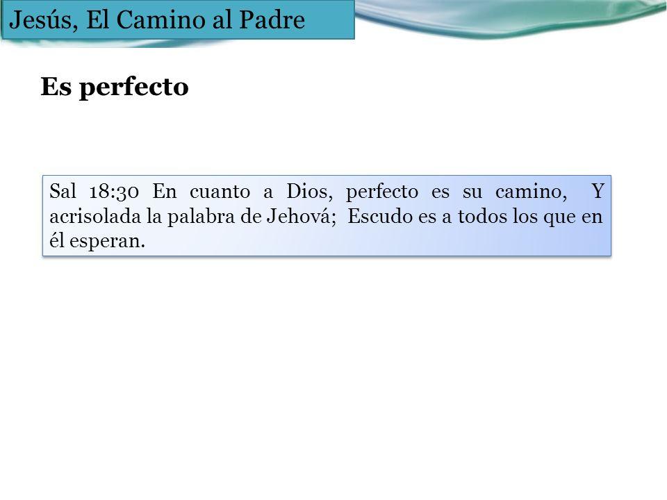 Es perfecto Jesús, El Camino al Padre Sal 18:30 En cuanto a Dios, perfecto es su camino, Y acrisolada la palabra de Jehová; Escudo es a todos los que