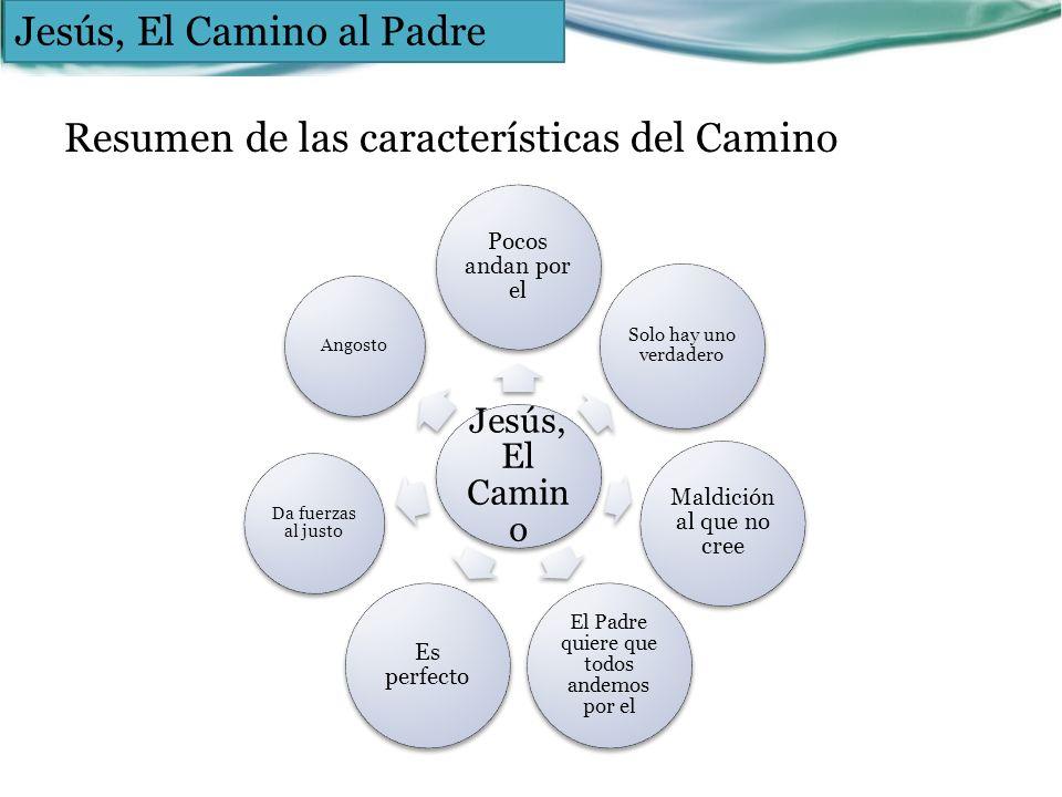 Resumen de las características del Camino Jesús, El Camin o Pocos andan por el Solo hay uno verdadero Maldición al que no cree El Padre quiere que tod