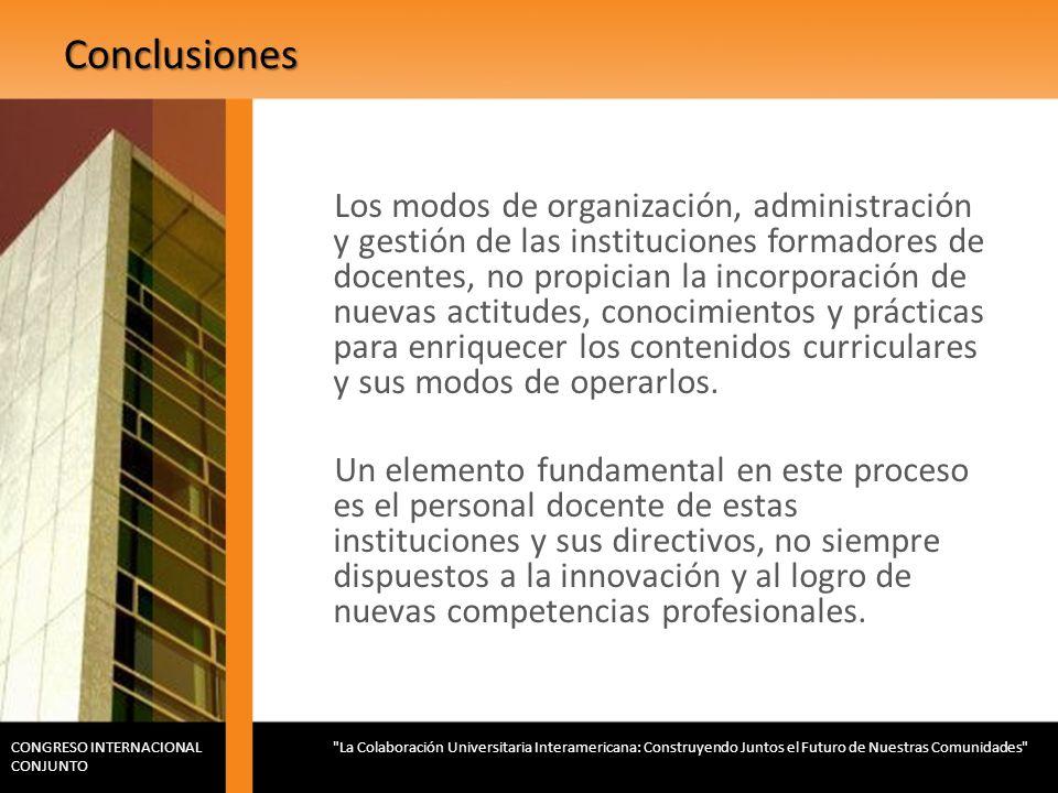 Conclusiones Los modos de organización, administración y gestión de las instituciones formadores de docentes, no propician la incorporación de nuevas