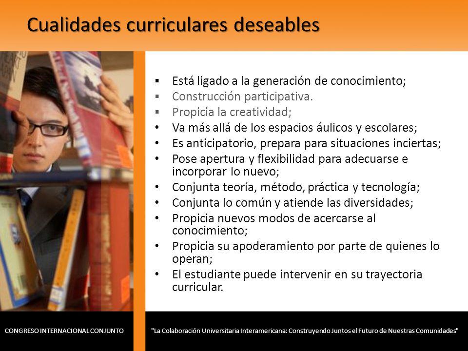 Cualidades curriculares deseables Está ligado a la generación de conocimiento; Construcción participativa. Propicia la creatividad; Va más allá de los