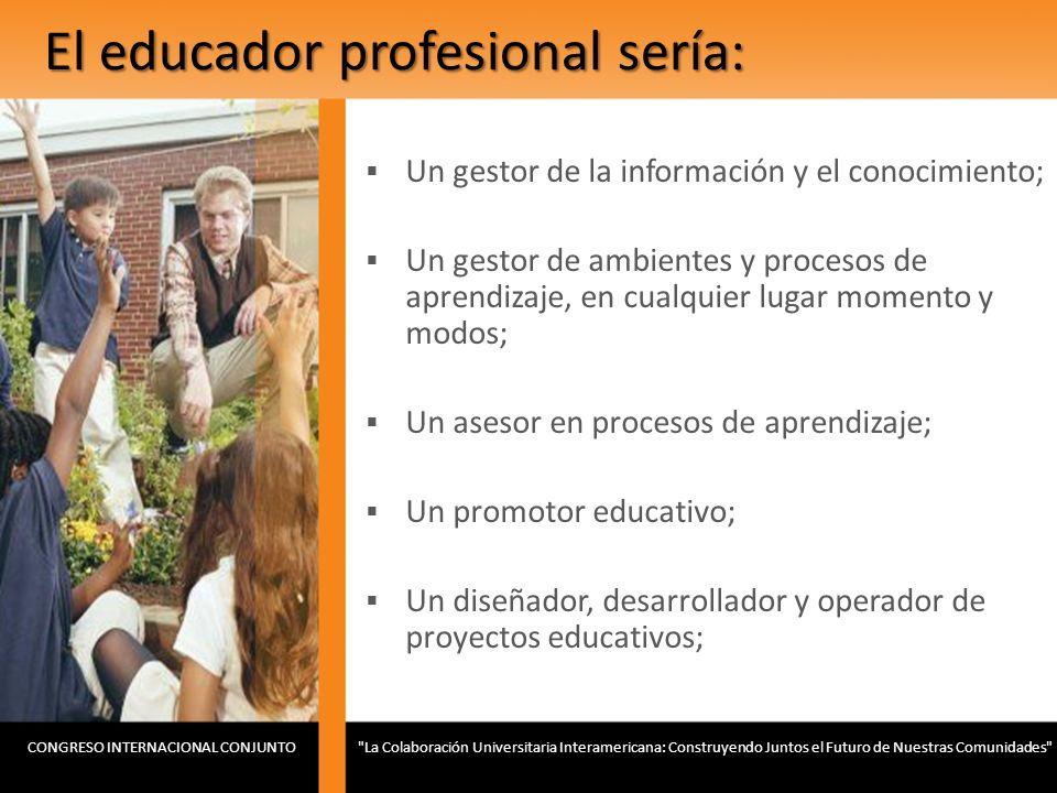 El educador profesional sería: Un gestor de la información y el conocimiento; Un gestor de ambientes y procesos de aprendizaje, en cualquier lugar mom