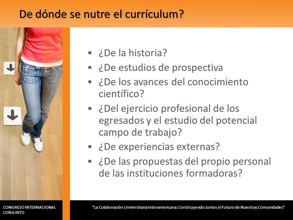De dónde se nutre el currículum? ¿De la historia? ¿De estudios de prospectiva ¿De los avances del conocimiento científico? ¿Del ejercicio profesional