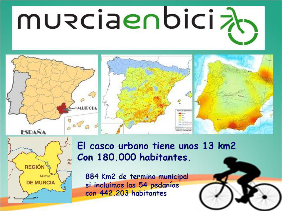 El casco urbano tiene unos 13 km2 Con 180.000 habitantes.