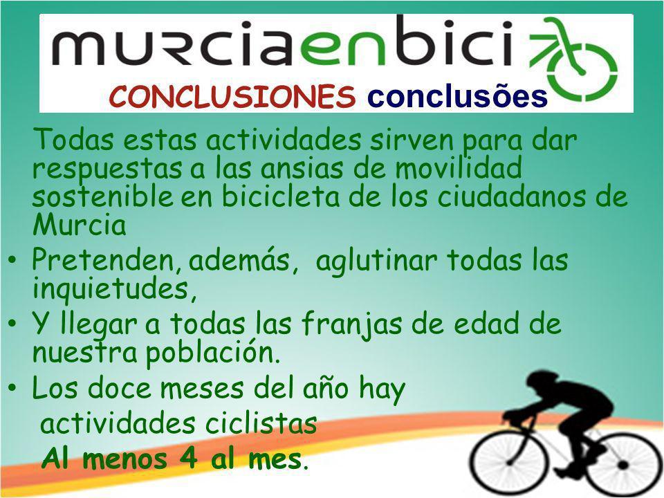 Todas estas actividades sirven para dar respuestas a las ansias de movilidad sostenible en bicicleta de los ciudadanos de Murcia Pretenden, además, aglutinar todas las inquietudes, Y llegar a todas las franjas de edad de nuestra población.