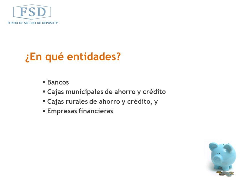 Bancos Cajas municipales de ahorro y crédito Cajas rurales de ahorro y crédito, y Empresas financieras ¿En qué entidades?